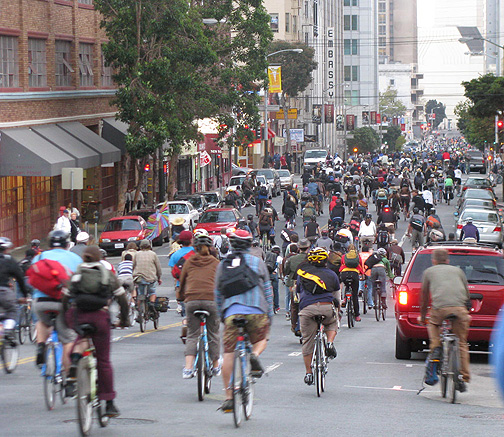 Critical Mass heads south on Polk Street, Sept. 26, 2008.