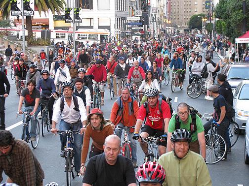 Critical Mass 16th birthday rides past Union Square, San Francisco, Sept. 26, 2008
