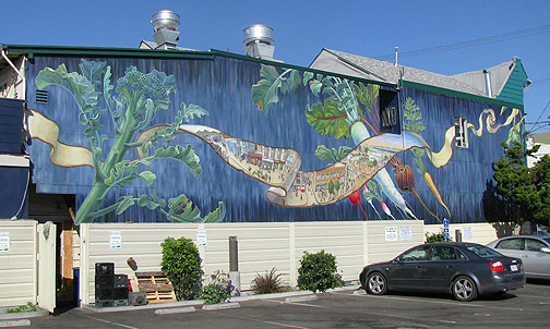 Mona Caron's new Noe Valley Mural (the blue side, on the west)