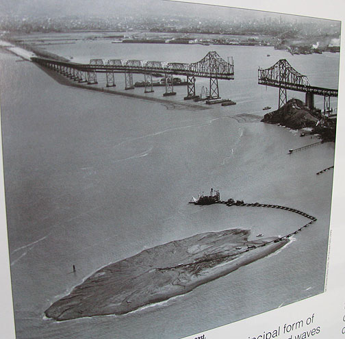 Photo of photo in Treasure Island museum, original Bay Bridge under construction.