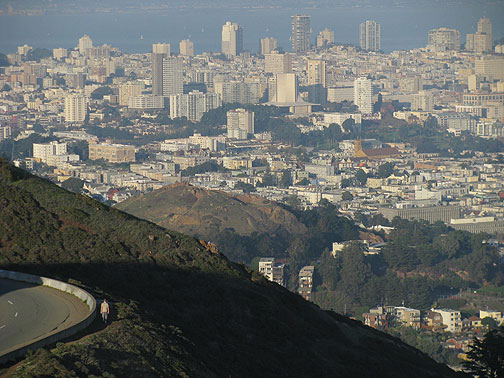 From south Twin Peak, view of Corona Heights and city.