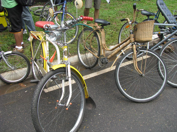 An original 1963 Brazilian bike next to a bamboo-wrapped beauty.