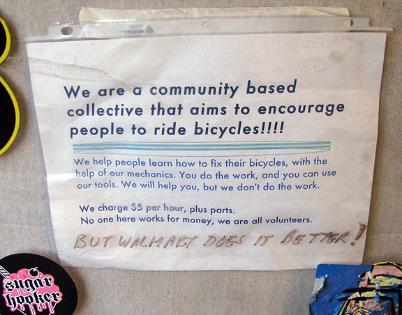 "Every DIY bike shop has its own philosophy and ""rules."""