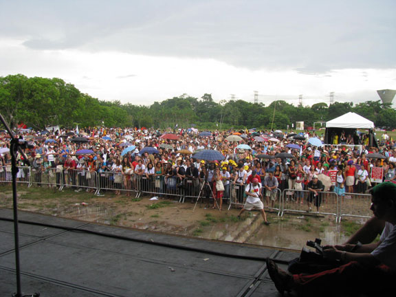 A long shot of the crowd from the stage, two hours before we finally got to give our speech.