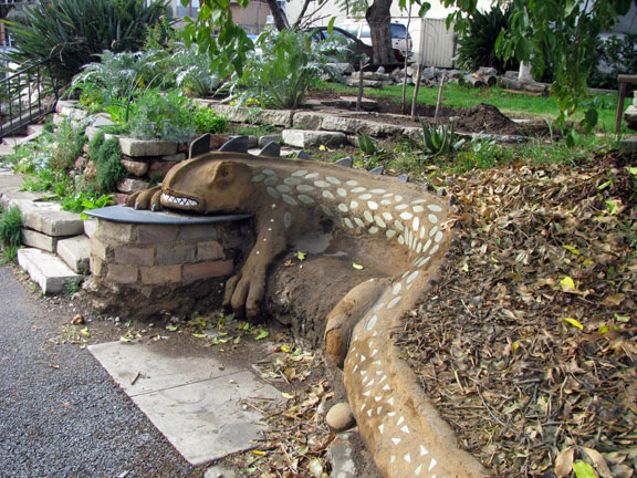 The LA Ecovillage has big plans for transforming their entire neighborhood. This lizard bench helps reinhabit the sidewalk in front of their buildings.