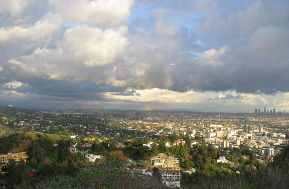 View of Downtown Los Angeles from Runyan Canyon, rainbow in distance.