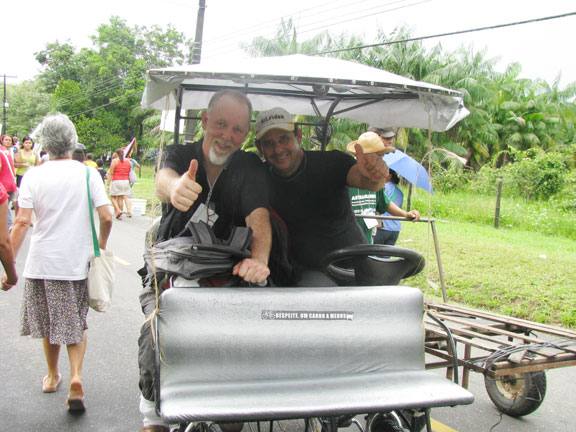Me and Marcelo in his Bike Taxi at the Universidade Federal Rural do Para.