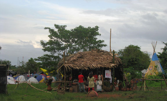 A permaculture demonstration hut from afar.