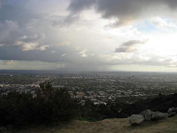 Rain moves across LA basin, southerly view from Runyan Canyon.