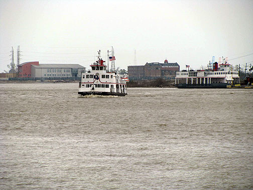 The Mississippi is just at hand, and the ferries still ply its waters amidst countless barges and freighters too.