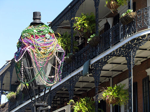 Beads cover street light in French Quarter, just after Mardi Gras 2009.