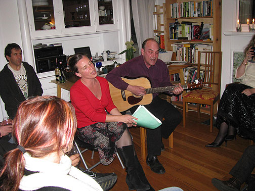 Yvonne Moore and Mat Callahan in our dining room, March 13, 09.