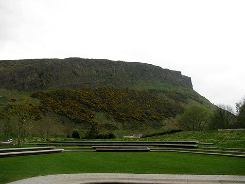 Arthur's Seat, a quite tall upthrusting rock formation with a long path skirting below the top.