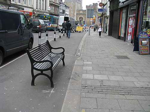 Seems like a new bike lane on St. Mary's but they put benches and bollards in it! go figure....