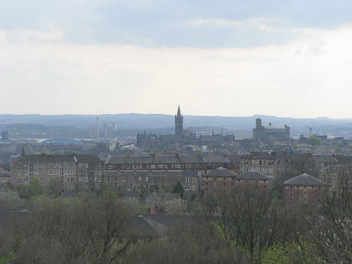 View of Glasgow from hilltop in park.
