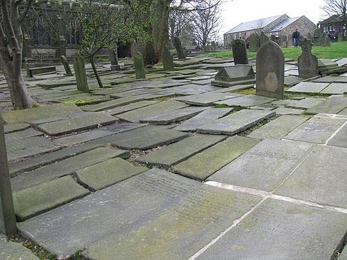 flat lying headstones.