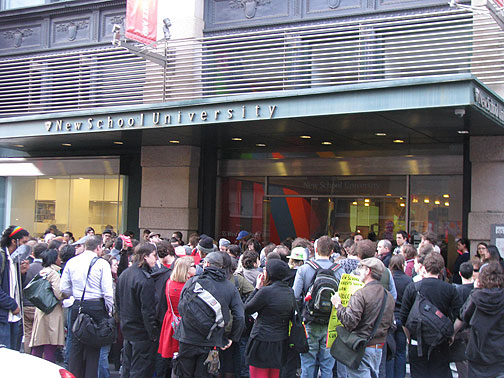 Demo at New School over police attack on occupiers, April 16, 2009.