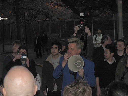 Reverend Billy showed up in front of NYU to support this small wandering demo... the next night he had the launch party for his Mayoral campaign!