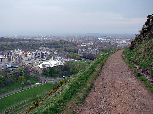 View down from Arthur's Seat path towards Scottish Parliament.