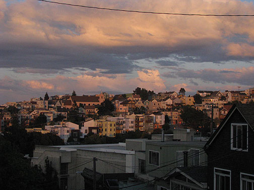 Easterly view from Permaculture Garden at 18th and Rhode Island on Potrero Hill.