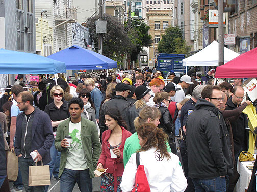 At Lilly Alley and Octavia a small streetfair was held over Memorial Day weekend, with locals jamming the area to browse the goods. A commercial use of public space, but with locally made goods and a lot of conviviality in the streets.
