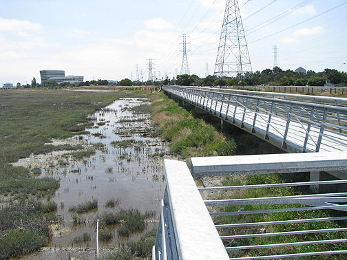 Observation deck over wetlands, just north of San Mateo bridge.