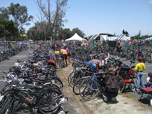 This sight is becoming common in the Bay Area: Valet Bike Parking overflowing with bikes!