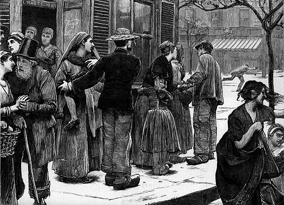 Paris Commune, 1871: citizens wait for shooting to stop.