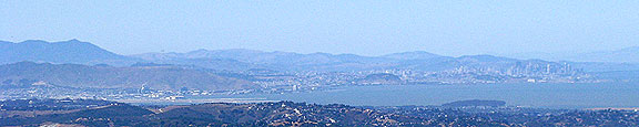 San Bruno Mountain and San Francisco from far south.