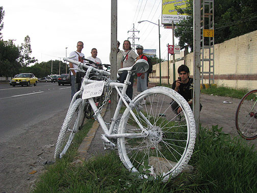 "Since our friends in Guadalajara started installing ""ghost bikes"" to commemorate killed cyclists, they've already had to put up 5, and it's only been a little over a month!"