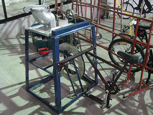 Pedal-powered lathe, or tool maker.
