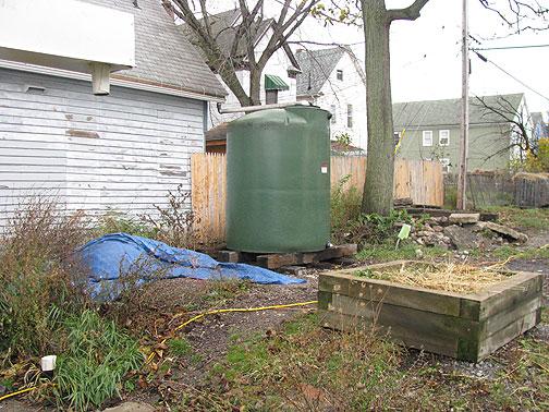 1000 gallon rain catchment barrel at the Massachusetts Avenue Project in Buffalo.