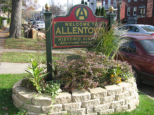 Allentown District sign, with its surprising invitation to anarchists to be residents!