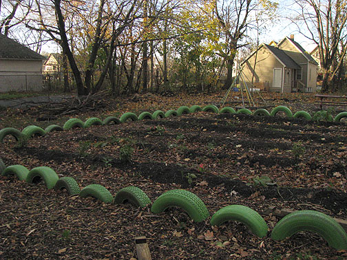 These green tires are growing in a garden near a place called Buffalo Reuse, sort of like SF's Building Resources.