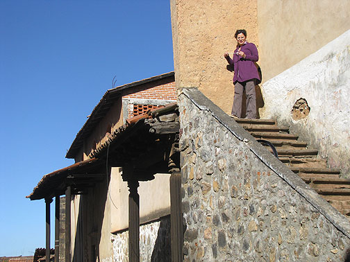 Adriana on a stairway to nowhere in Patzcuaro!
