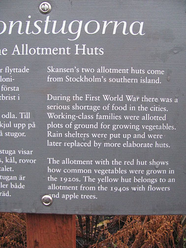Explanation of allotment huts at museum.