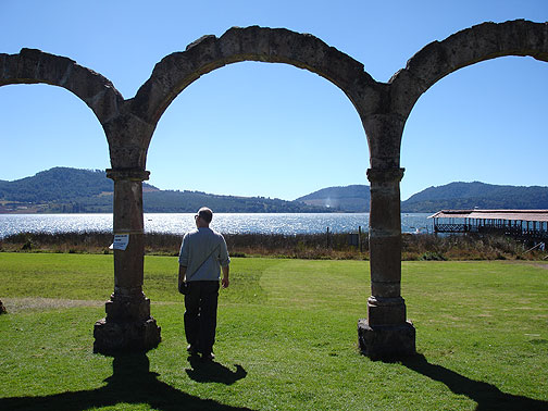 Apparently an old hacienda or monastery used to sit at the lake shore, but all that's left are these arches. A few dozen yards to my right in this photo is a pier stretching out into the lake for boat trips, and a weird cluster of fish restaurants and artesania booths.