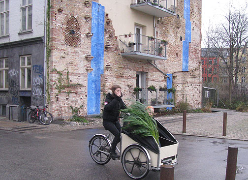 A typical Danish Christiania bike passes by a permacultural rain catchment installation (in blue) on coop apartment building behind.