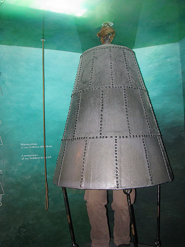 An actual diving bell from the 1700s, in which the diver stands inside the bell, breathing the air at the top, while submerged in 16 meters of freezing cold water. From the invisible top of the inside, he hooked the 1.5 ton cannon in the sunken Vasa, and one a time they recovered more than 50 of them using this unbelievable technology!