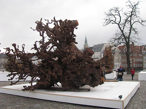 A dozen massive hardwood stumps were brought from West Africa and installed as a Climate Change art exhibition in one of the city's main plazas.