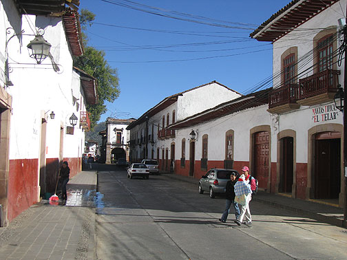 This is the standard look of central Patzcuaro. The Plaza de Don Quiroga is at the end of the street in this photo, and you can see the signage over the door to the right.