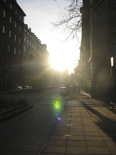 This is the sun at 1 pm on a Stockholm Street... and when it shines like this, locals tend to stop what they're doing and soak it up!