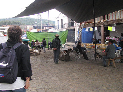 Mexico is a dynamic political society. Here locals in Tzintzuntzan had set up an encampment in front of the town hall in an attempt to force the resignation of the Treasurer, who they claimed had embezzled funds and was completely corrupt.