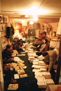 Processed World collating party at 460 Ashbury in 1984 for issue #12.