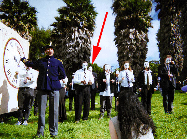 The Rememberator performance at Dolores Park, Mayday 1998. Greg is in back under the red arrow. Bill Kersnowski as Emperor Norton gesturing at the actual device: The Rememberator!