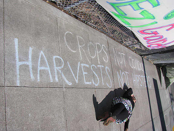 Chalked on the sidewalk outside Gezi Gardens/Hayes Valley Farm.