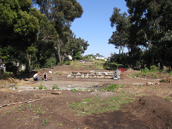 Largely denuded of its recent productive landscape, this is the old Fell Street offramp, which was a wonderful part of Hayes Valley Farm for the past year or two...