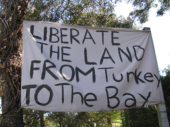 "Banner hanging at the former Hayes Valley Farm, taken over on June 1 by folks who dubbed it ""Gezi Gardens"" in solidarity with the Turks... they were evicted by heavy police attack on the night of June 12... other photos from the short-lived occupation appear below."