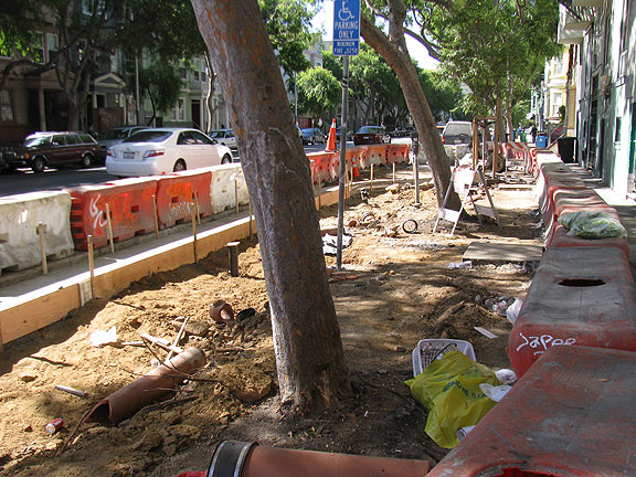 When I saw the corner near my house opened up like this it made me wistful for the possibility of a linear farm along Folsom Street... why not keep digging and then plant an orchard?