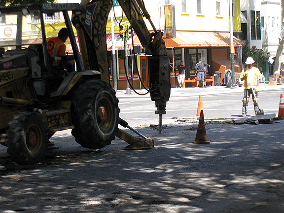 Then this powerful jackhammer comes along and demolishes the existing lane of pavement...